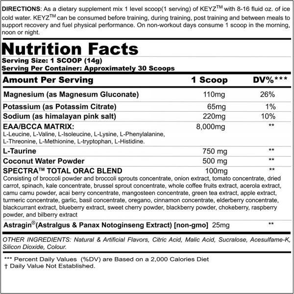 Black Magic Supply KEYZ Aminos - Nutritional Information
