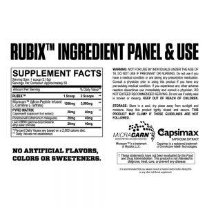 Myoblox Rubix Stim-Free Fat Burner - Ingredients