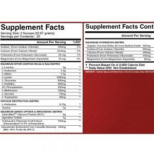 Olympus Labs Endur3 BCAAs - Nutritional Information