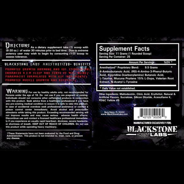 Blackstone Labs Anesthetized Sleep Aid Nutritional Information